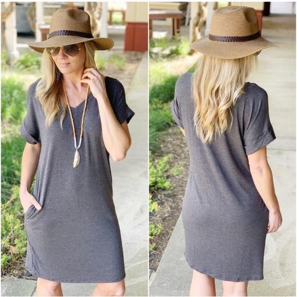 Infinity Raine Dresses & Skirts - Charcoal T-Shirt Dress with Pockets
